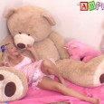 Summer looks so tiny next to the great, big bear! She's so cutely and sweetly playing in the playroom and having a great time when she has make a messy. […]